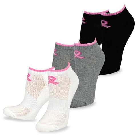 TeeHee Pink Ribbon Breast Cancer Awareness No Show Cushion Socks Women