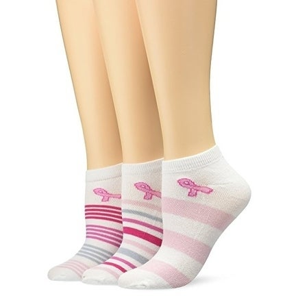cb869b2a857 Shop TeeHee Breast Cancer Awareness No Show Socks for Women 3-Pairs ...