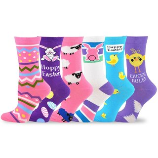 TeeHee Women's Easter Day Fashion Crew Socks (Pack of 6 Pairs)