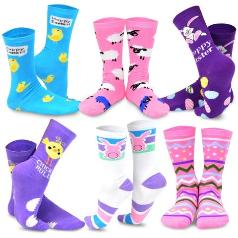 TeeHee Womens Easter Day Fashion Crew Socks (Pack of 6 Pairs)