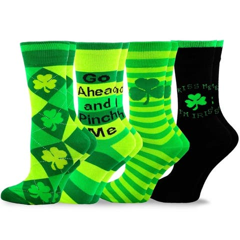 TeeHee St. Patricks Day Cotton Crew Socks Assorted 4-Pair Pack