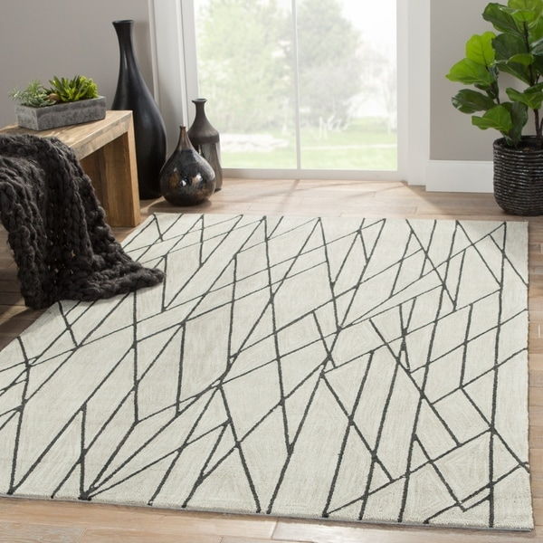 "Gatz Handmade Geometric Cream/ Gray Area Rug (7'6"" X 9'6"") - 7'6"" x 9'6"""
