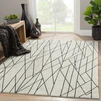 "Gatz Handmade Geometric Cream/ Gray Area Rug (7'6"" X 9'6"") - 7'6"" x 9'6"""