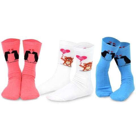 TeeHee Valentines Day Love Womens Crew Socks 3-Pack