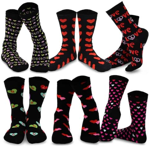 TeeHee Womens Valentines Day Heart Love Crew Socks 6 Pack