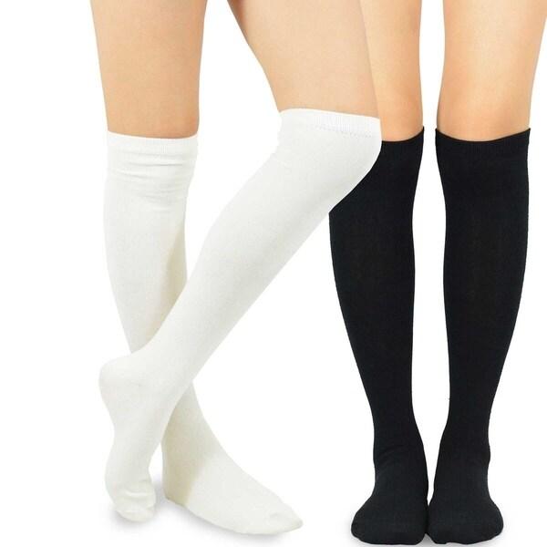 995821c9ea3 Shop Teehee Women s Fashion Cotton Knee High Socks 2 Pairs - Free ...