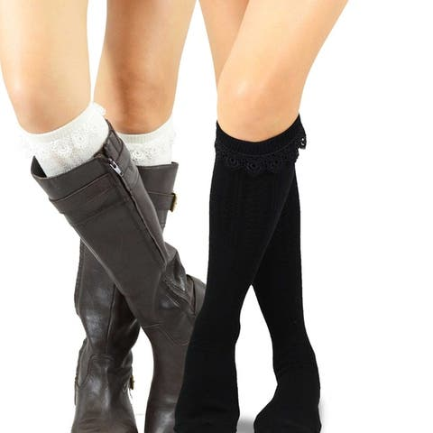 Teehee Womens Fashion Pointelle Cotton Knee High Socks 2 Pairs