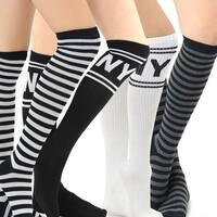 Teehee Women's Fashion Cotton Knee-high Socks (Pack of 4 Pairs)