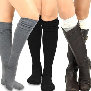 TeeHee Women's Fashion Over-the-knee High Socks (Pack of 3 Pairs)