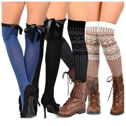 TeeHee Womens Fashion Over-the-knee High Socks (Pack of 4 Pairs)