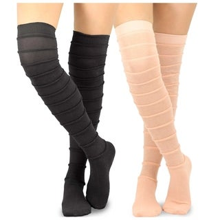 Teehee Women's Fashion Cotton Over The Knee Socks - 2 Pairs Pack