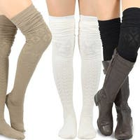 Teehee Women's Fashion Extra Long Cotton Thigh High Socks (Pack of 3)