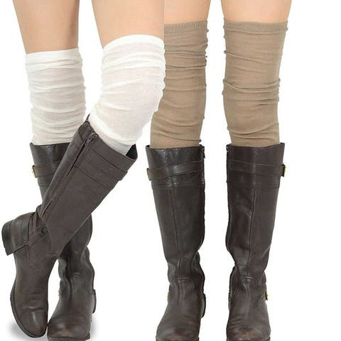 Teehee Womens Fashion Extra Long Thigh High Socks 2 Pair