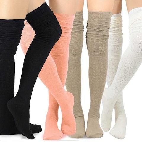 Teehee Womens Fashion Extra Long Cotton Thigh-high Socks (4 Pairs)
