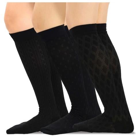 TeeHee Cotton Fashion Compression Knee High Socks 3-Pack (Geometric)