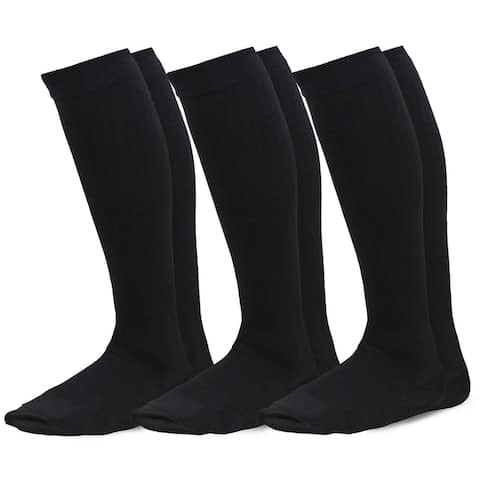 TeeHee Microfiber Compression Knee High Socks with Rib 3-Pack (Black)