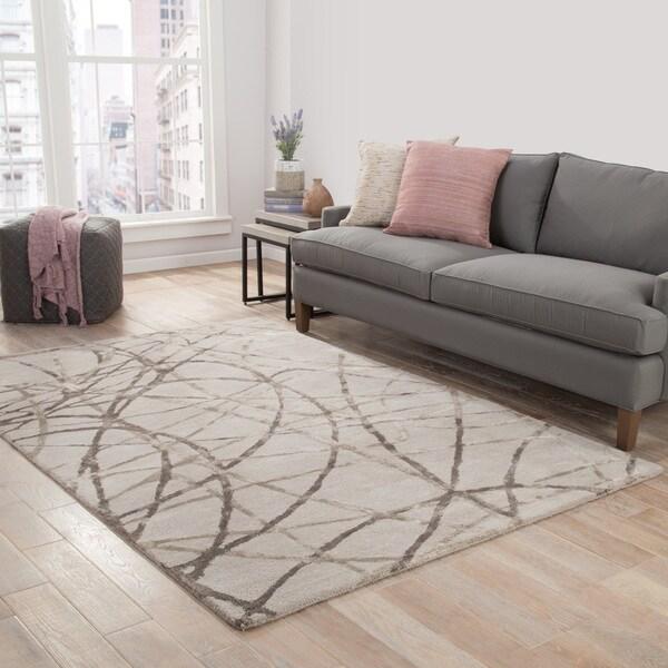 Jazz Handmade Abstract Gray/ Silver Area Rug (8' X 10') - 8' x 10'
