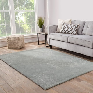 Fernley Handmade Abstract Blue/ White Area Rug (8' X 10')