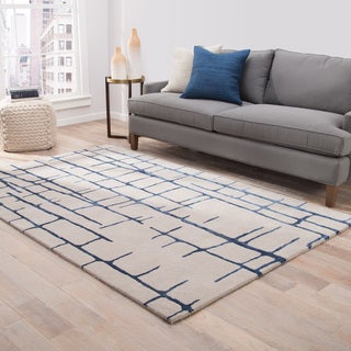 "Hawthorn Handmade Abstract Taupe/ Dark Blue Area Rug (8' X 10') - 7'10"" x 9'10"""