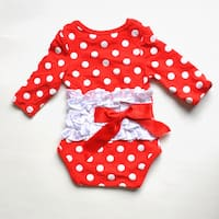 Red/White Polka Dot Long Sleeve Romper