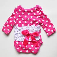 Hot Pink/White Polka Dot Long Sleeve Romper