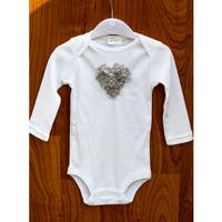 Gray Heart Baby Romper