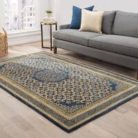 Shray Handmade Medallion Blue/ Gold Area Rug (8' X 11') - 8' x 11'