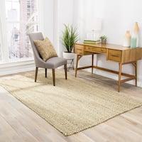Seaton Natural Solid Tan/ Green Area Rug (8' X 10') - 8' x 10'