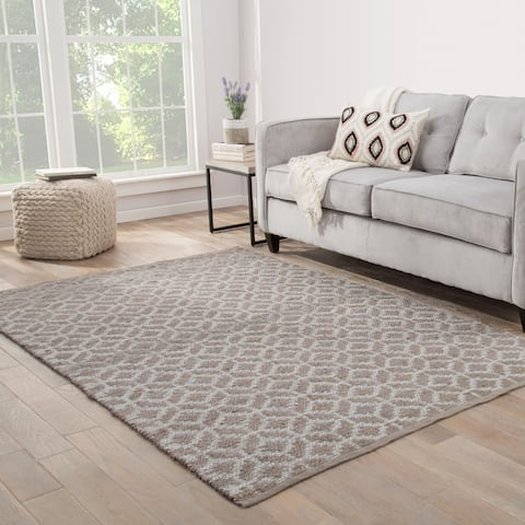 Nikki Chu Caprice Natural Geometric Brown/ Silver Area Rug (8' X 10') - 8' x 10'