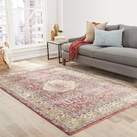 Maison Rouge Alcott Floral Red/ Gold Area Rug (8' x 10') - 8' x 10'