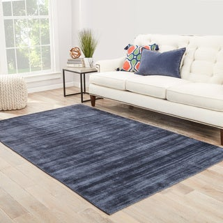"""Lizette Handmade Solid Blue/ Gray Area Rug (8' X 10') - 7'10"""" x 9'10"""""""