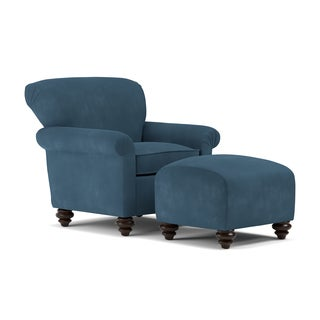 Handy Living Fairfax Blue Microfiber Arm Chair and Ottoman Set