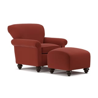Handy Living Fairfax Sangria Red Chenille Arm Chair And Ottoman Set