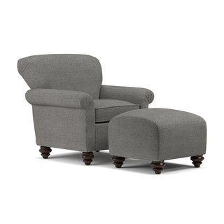 Handy Living Fairfax Black Tweed Arm Chair and Ottoman Set