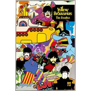 The Beatles Yellow Submarine Poster in a Silver Metal Frame (24x36)