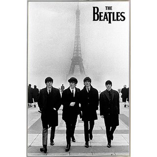 The Beatles in Paris Poster in a Silver Metal Frame (24x36)
