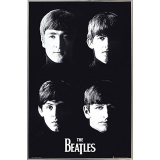 The Beatles With The Poster in a Silver Metal Frame (24x36)