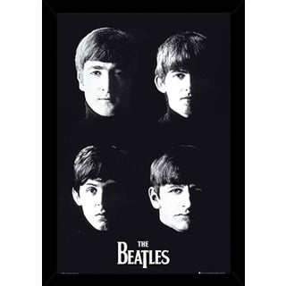 The Beatles With The Poster in a Black Poster Frame (24x36)