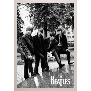 The Beatles Pose Poster in a White Plastic Frame (24x36)