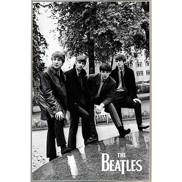 The Beatles Pose Poster in a Silver Metal Frame (24x36)