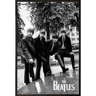 The Beatles Pose Poster in a Walnut Wood Frame (24x36)