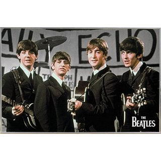 The Beatles Daily Echo Poster in a Silver Metal Frame (36x24)