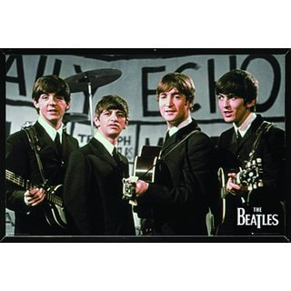 The Beatles Daily Echo Poster in a Black Thin Frame (36x24)