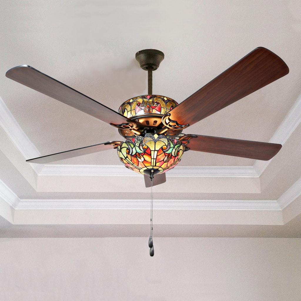 Tiffany style stained glass halston ceiling fan spice ebay tiffany style stained glass halston ceiling fan spice aloadofball Gallery