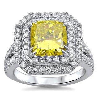 Certified Noori 2 3/4 Canary Yellow Cushion Cut Diamond Engagement Ring 18k White Gold
