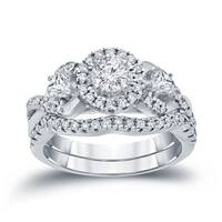 Auriya 14k 3/4ct TDW Halo Diamond Braided Bridal Ring Set (H-I, I1-I2)