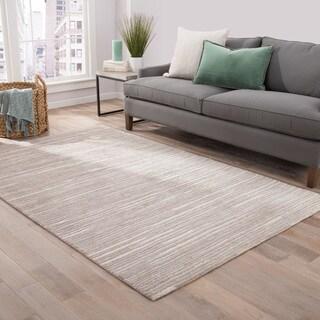 Wren Handmade Stripe Gray/ Beige Area Rug (2' x 3')