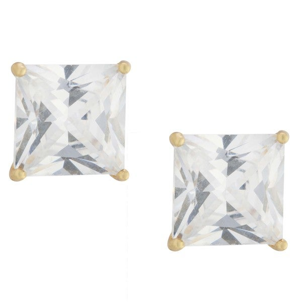 56fe06b26 Athra Luxe Collection Gold over Sterling Silver Princess-cut Cubic Zirconia Stud  Earrings
