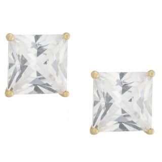 Athra Luxe Collection Gold over Sterling Silver Princess-cut Cubic Zirconia Stud Earrings|https://ak1.ostkcdn.com/images/products/16105886/P22488189.jpg?impolicy=medium