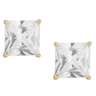 Athra Luxe Collection Gold over Sterling Silver Princess-cut Cubic Zirconia Stud Earrings